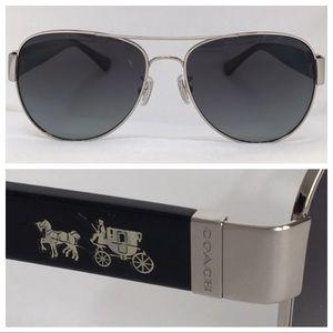 COACH Polarized HC7059 Silver/Black size 58